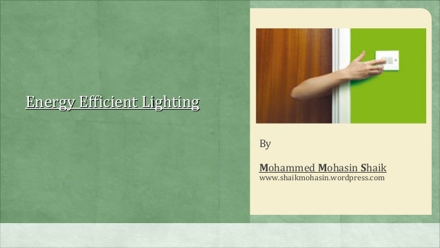 Energy Efficient Lighting                            By                            Mohammed Mohasin Shaik                 ...