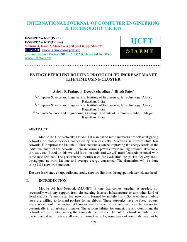 Energy efficient routing protocol to increase manet life time using cluster 2