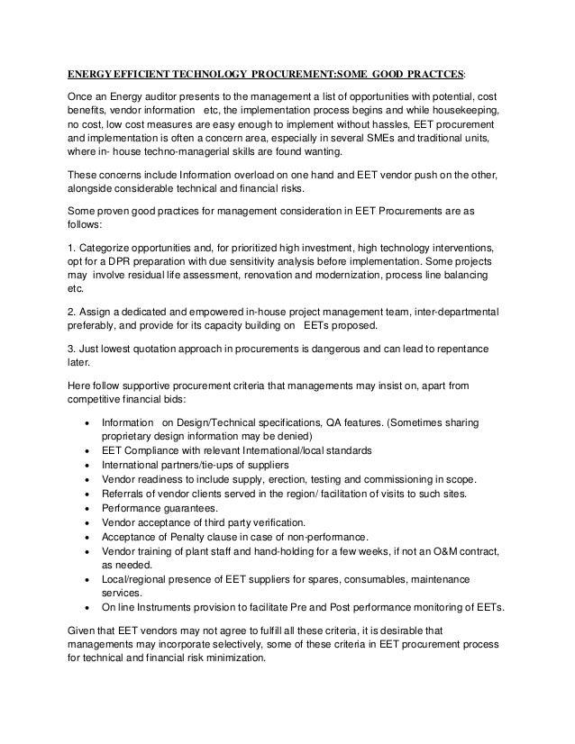 Energy efficient technology  procurement