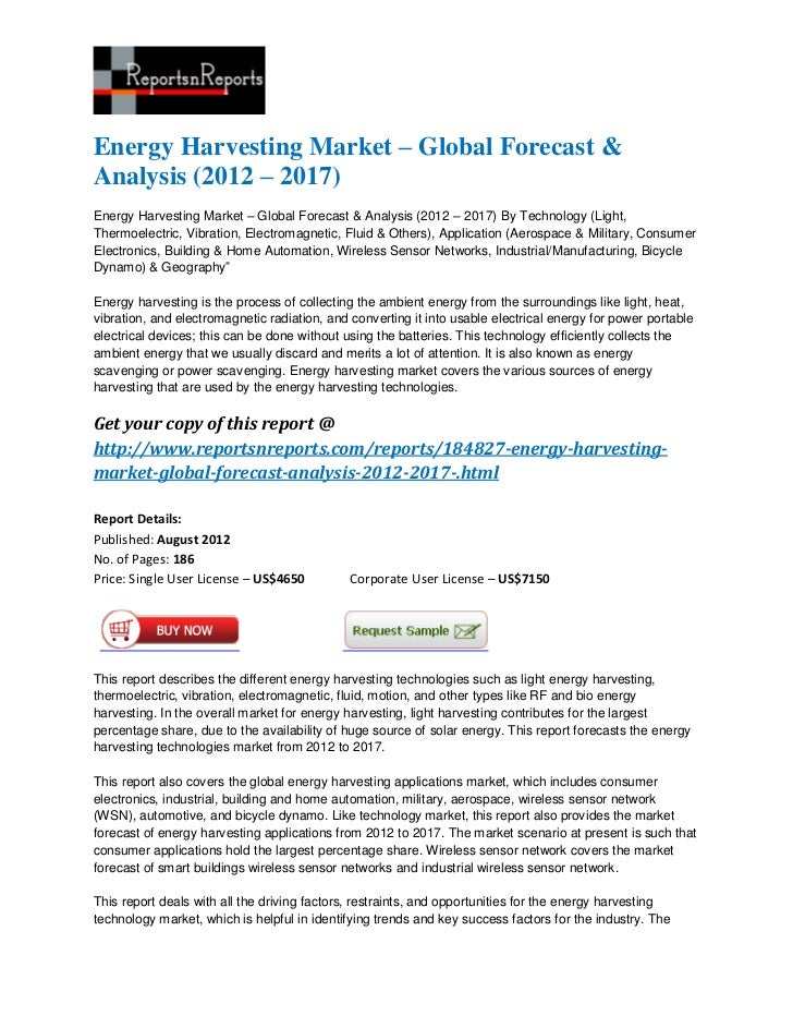 Energy harvesting market – global forecast & analysis (2012 – 2017)