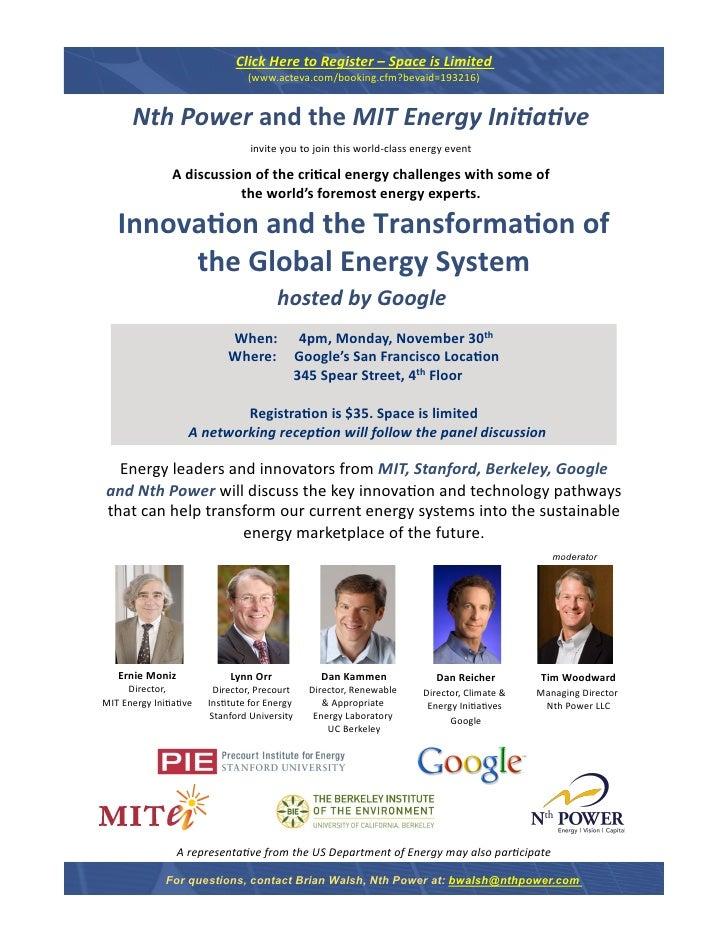 Energy Innovation November 30 / 2009 Flyer