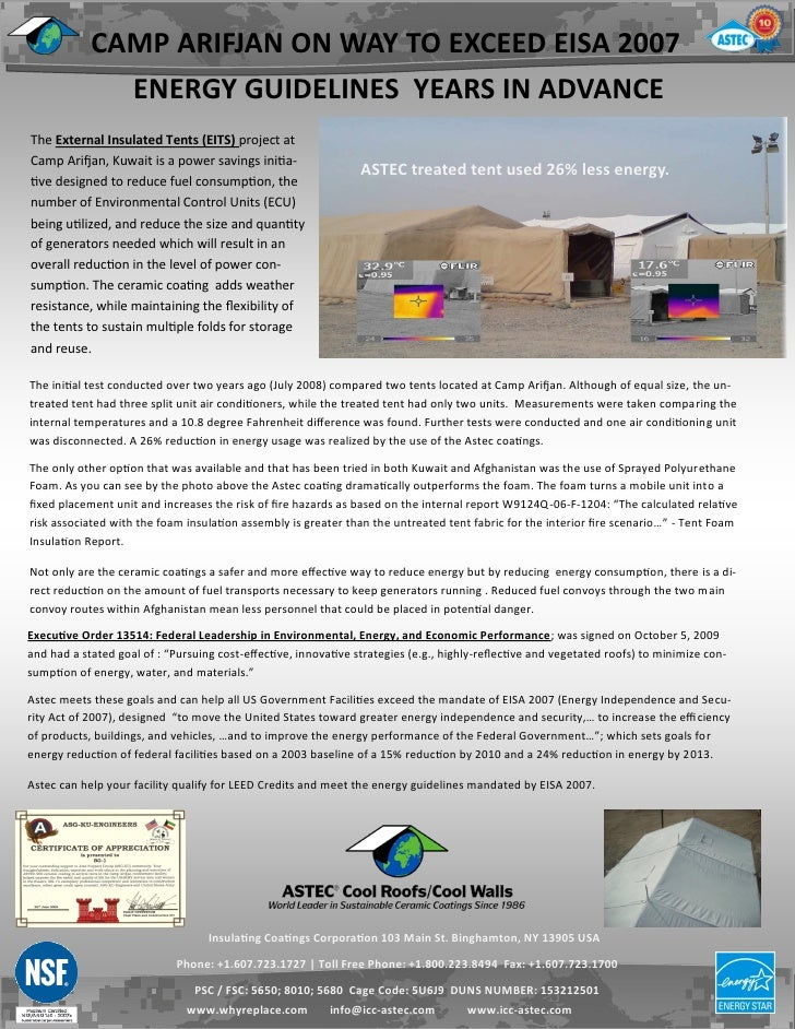 CAMP ARIFJAN ON WAY TO EXCEED EISA 2007              ENERGY GUIDELINES YEARS IN ADVANCEThe External Insulated Tents (EITS)...