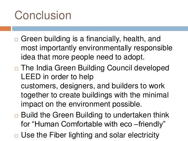 Conclusion Of Eco Friendly Building Materials