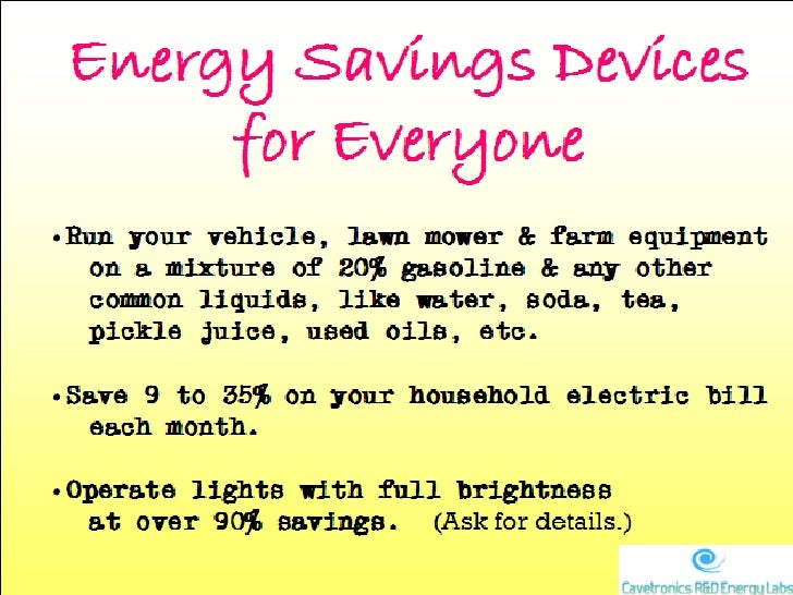 Energy Savings Devices for Everyone