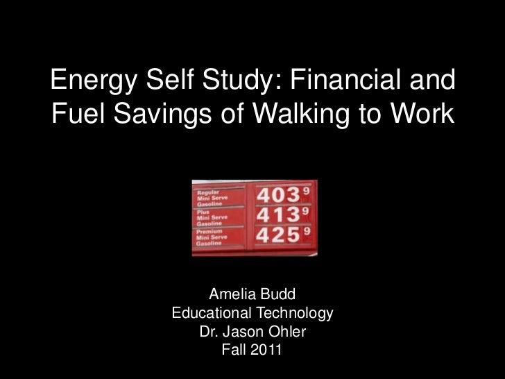 Energy Self Study: Financial andFuel Savings of Walking to Work             Amelia Budd         Educational Technology    ...