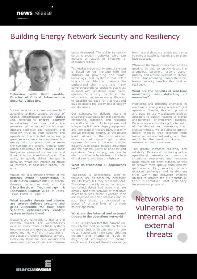 """Interview with: Brett Luedde, Director of Critical Infrastructure Security, ViaSat Inc. """"Great security is a business enab..."""