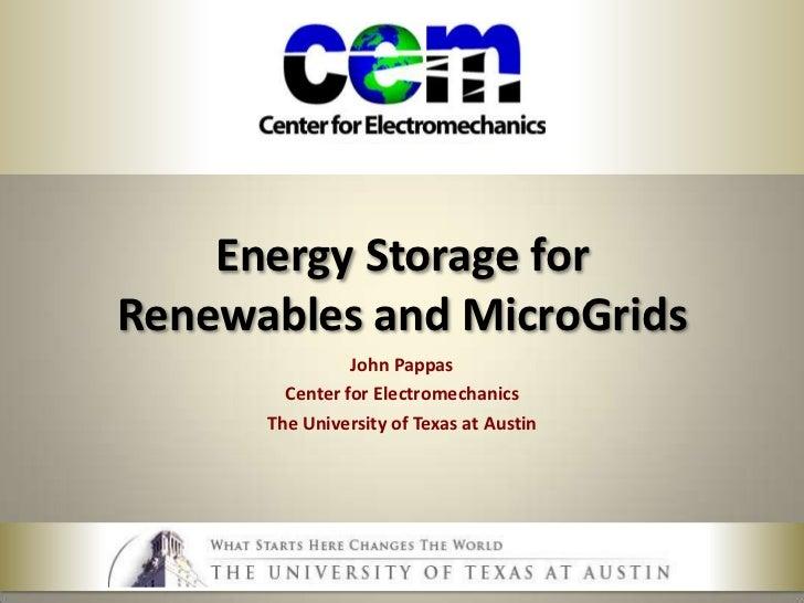 Energy storage for smart grid and renewables v1