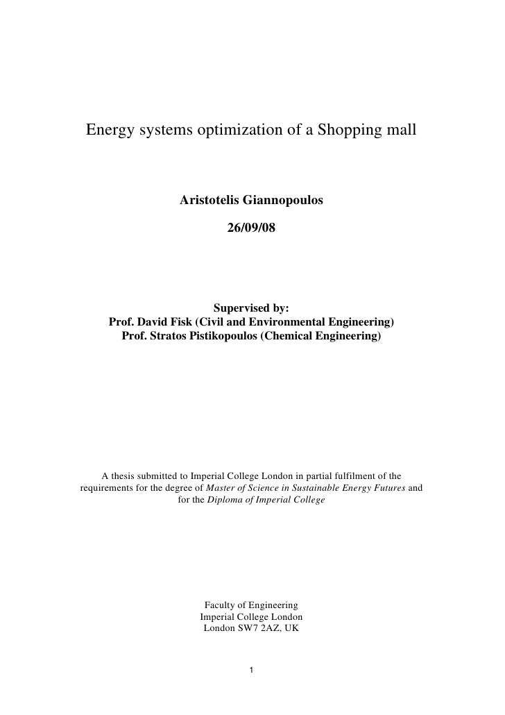 Energy Systems Optimization Of A Shopping Mall