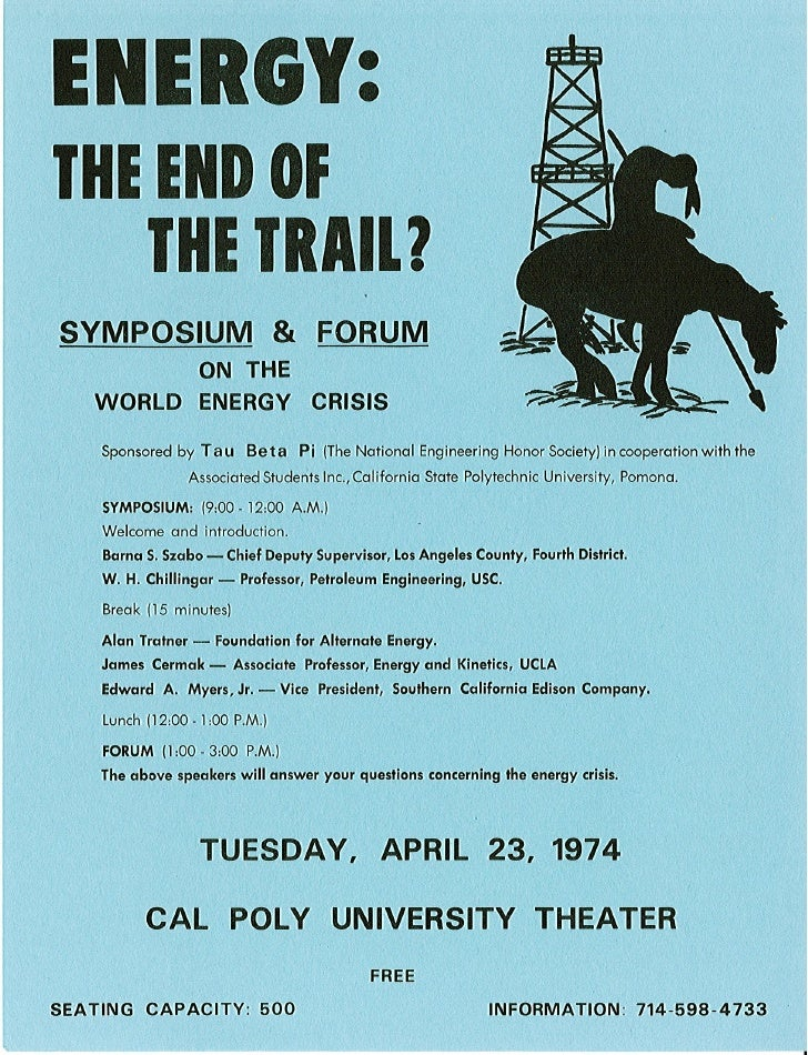 Energy  The End Of The Trail Cal Poly Poster 1973
