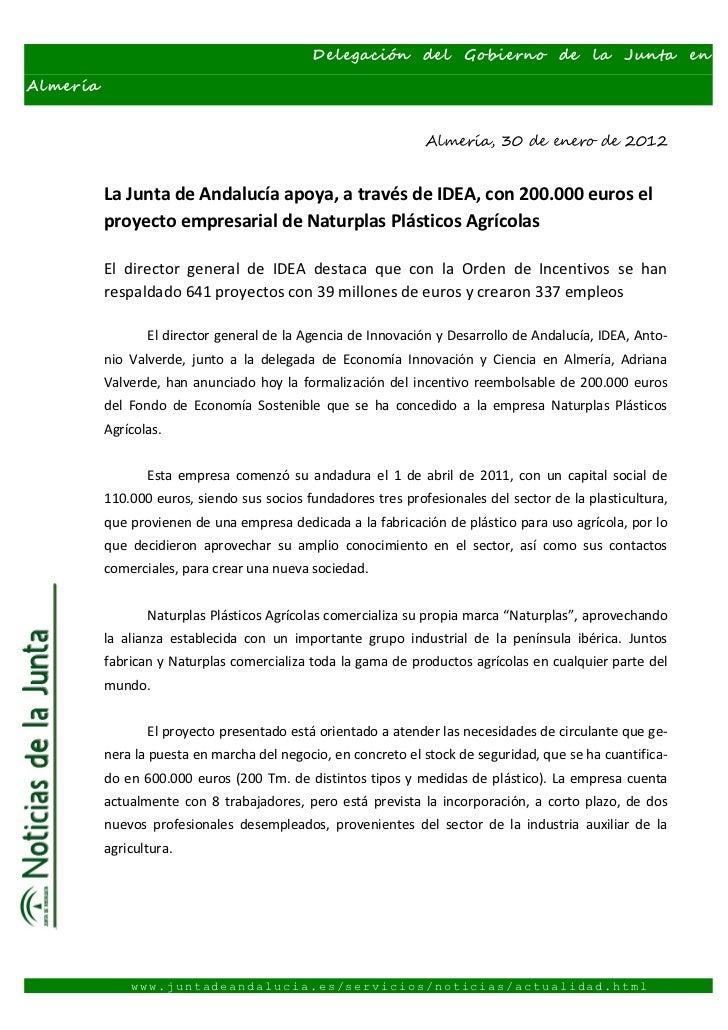 Delegación del Gobierno de la Junta enAlmería                                                               Almería, 30 de...