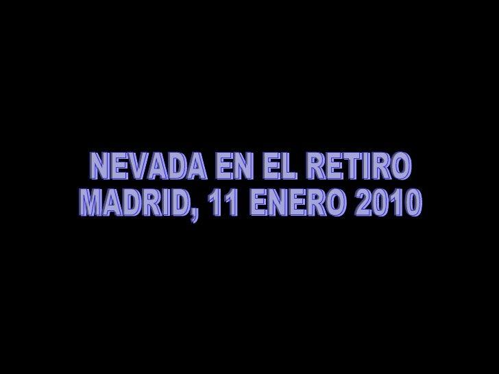 NEVADA EN EL RETIRO  MADRID, 11 ENERO 2010