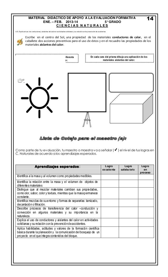 Examen de preparaci n bimestre 3 quinto grado - Materiales aislantes del calor ...