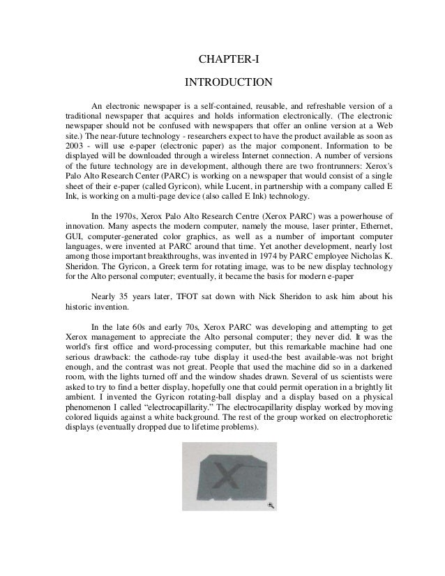 CHAPTER-I                                   INTRODUCTION        An electronic newspaper is a self-contained, reusable, and...