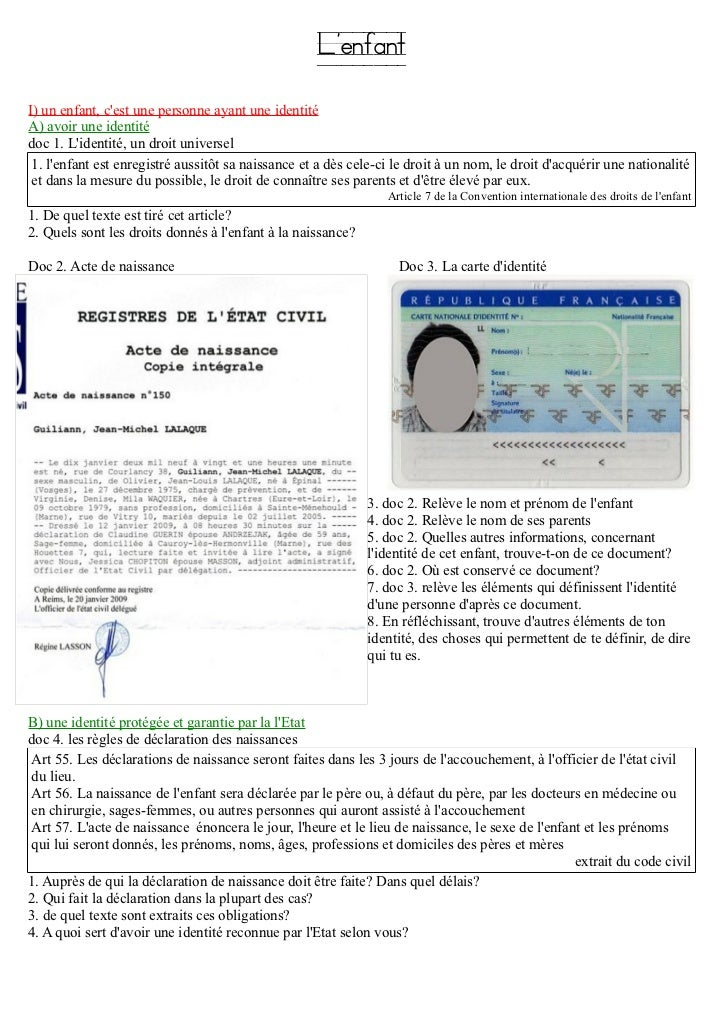 LenfantI) un enfant, cest une personne ayant une identitéA) avoir une identitédoc 1. Lidentité, un droit universel 1. lenf...
