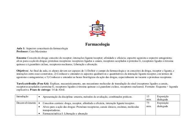 Farmacologia Aula 1: Aspectos conceituais da farmacologia Professor: Caio Maximino Ementa: Conceito de droga; conceito de ...