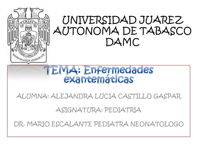 UNIVERSIDAD JUAREZ         AUTONOMA DE TABASCO                 DAMCALUMNA: ALEJANDRA LUCIA CASTILLO GASPAR         ASIGNAT...