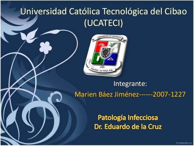 Universidad Católica Tecnológica del Cibao (UCATECI) Integrante: Marien Báez Jiménez------2007-1227