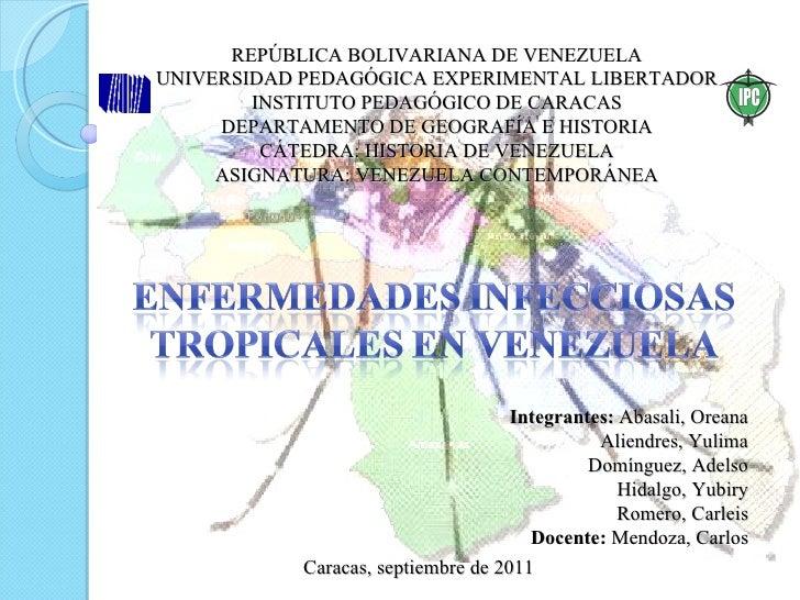 REPÚBLICA BOLIVARIANA DE VENEZUELA UNIVERSIDAD PEDAGÓGICA EXPERIMENTAL LIBERTADOR INSTITUTO PEDAGÓGICO DE CARACAS DEPARTAM...