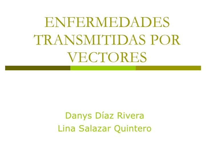 ENFERMEDADES TRANSMITIDAS POR VECTORES Danys Díaz Rivera Lina Salazar Quintero