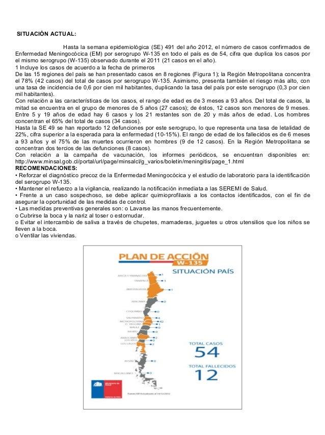 Enfermedad meningocócica (em) por serogrupo w 135 informe minsal