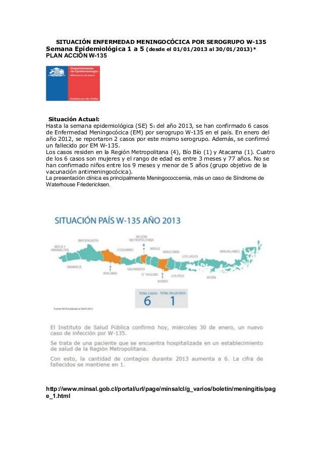 SITUACIÓN ENFERMEDAD MENINGOCÓCICA POR SEROGRUPO W-135Semana Epidemiológica 1 a 5 (desde el 01/01/2013 al 30/01/2013)*PLAN...