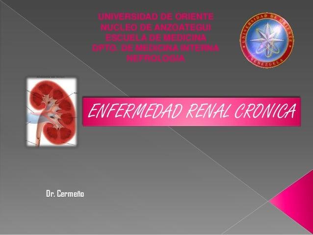 UNIVERSIDAD DE ORIENTE NUCLEO DE ANZOATEGUI ESCUELA DE MEDICINA DPTO. DE MEDICINA INTERNA NEFROLOGIA  ENFERMEDAD RENAL CRO...