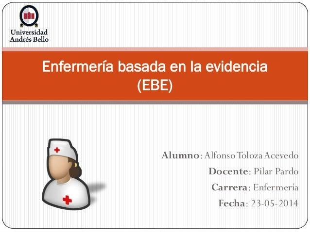 Alumno:AlfonsoToloza Acevedo Docente: Pilar Pardo Carrera: Enfermería Fecha: 23-05-2014 Enfermería basada en la evidencia ...