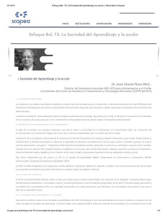 31/10/13  Enfoque Bol. 75. La Sociedad del Aprendizaje y la acción | Observatorio Scopeo  INICIO  QUÉ ES SCOPEO  INVESTIGA...