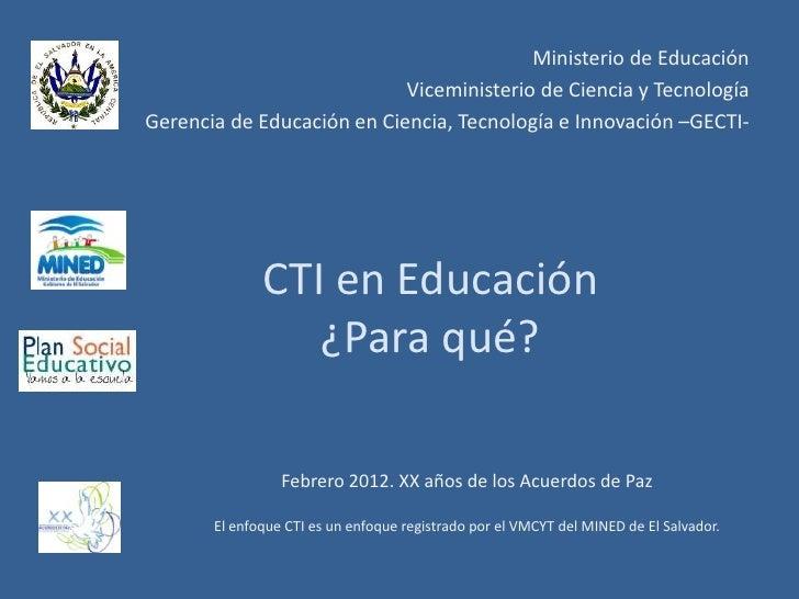 Ministerio de Educación                            Viceministerio de Ciencia y TecnologíaGerencia de Educación en Ciencia,...