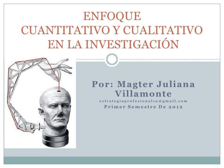 ENFOQUECUANTITATIVO Y CUALITATIVO   EN LA INVESTIGACIÓN          Por: Magter Juliana              Villamonte           est...