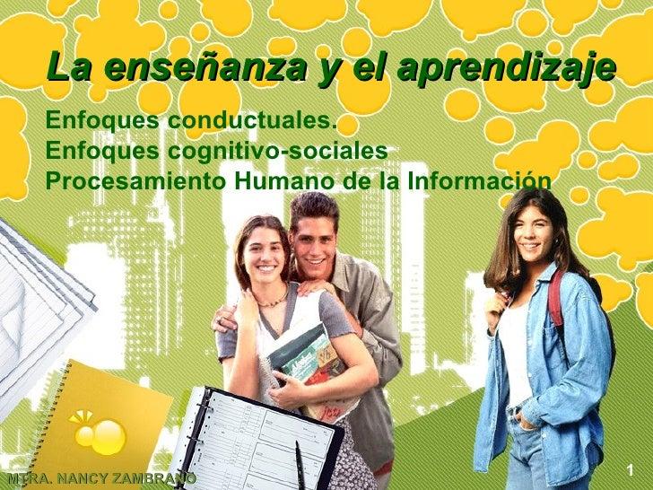 La enseñanza y el aprendizaje Enfoques conductuales. Enfoques cognitivo-sociales Procesamiento Humano de la Información 1