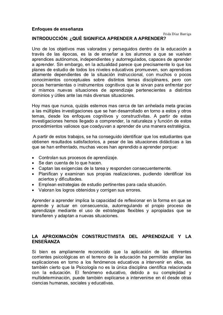 Enfoques de enseñanza                                                                  Frida Díaz BarrigaINTRODUCCIÓN: ¿QU...