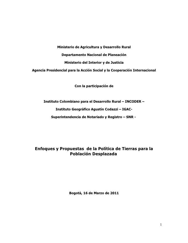 Ministerio de Agricultura y Desarrollo Rural                 Departamento Nacional de Planeación                   Ministe...