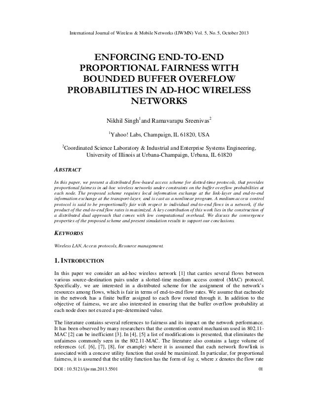 Enforcing end to-end proportional fairness with bounded buffer overflow probabilities in ad-hoc wireless networks
