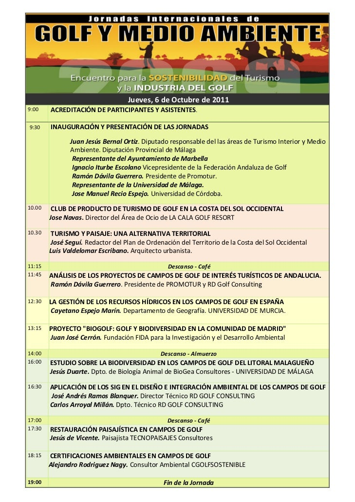 Program VIII Conference Golf and Environment Marbella 2011