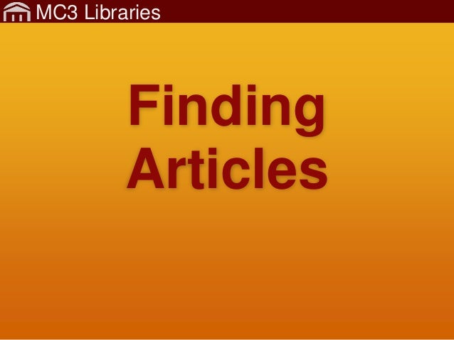 MC3 Libraries Finding Articles