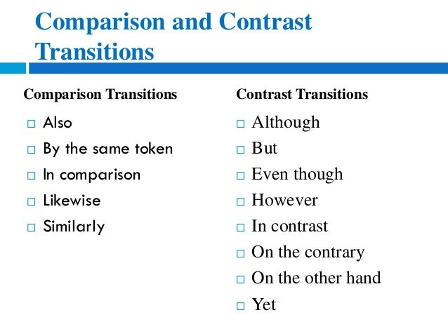 good transitions for a compare and contrast essay Compare and contrast essay good boss  and clincher sentences appropriate transitions within and between paragraphs that maintain momentum.