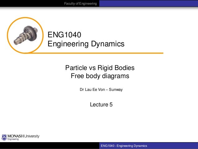 Faculty of Engineering  ENG1040 Engineering Dynamics Particle vs Rigid Bodies Free body diagrams Dr Lau Ee Von – Sunway  L...