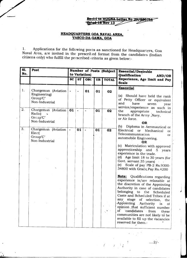 Goa Naval Area Vacancies