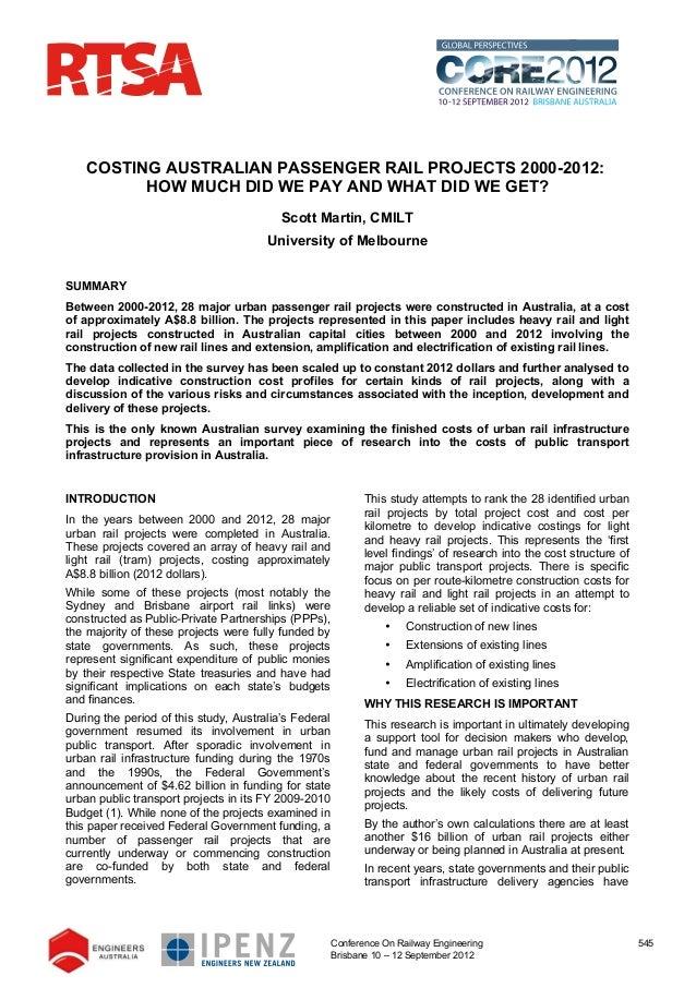 Costing of Australian urban passenger rail project 2000-2012