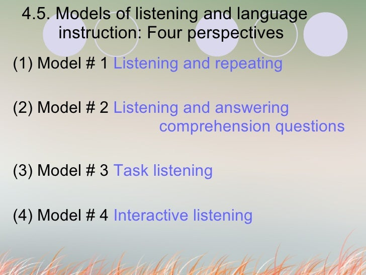 4.5. Models of listening and language  instruction: Four perspectives  (1) Model # 1  Listening and repeating (2) Model # ...