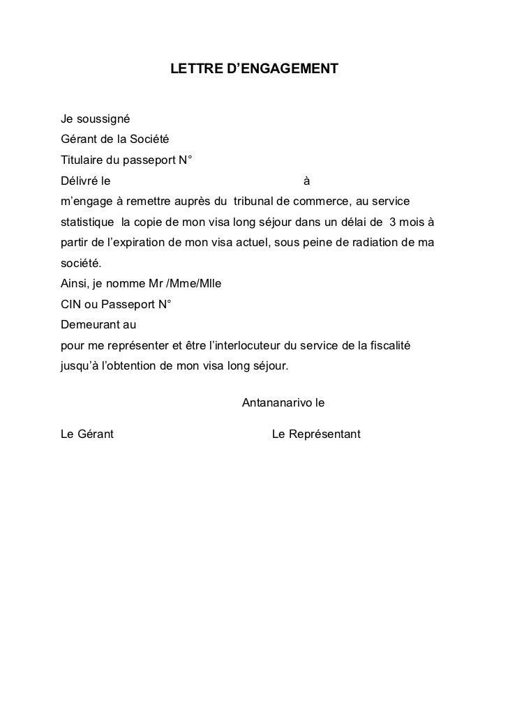 LETTRE D'ENGAGEMENTJe soussignéGérant de la SociétéTitulaire du passeport N°Délivré le                                    ...