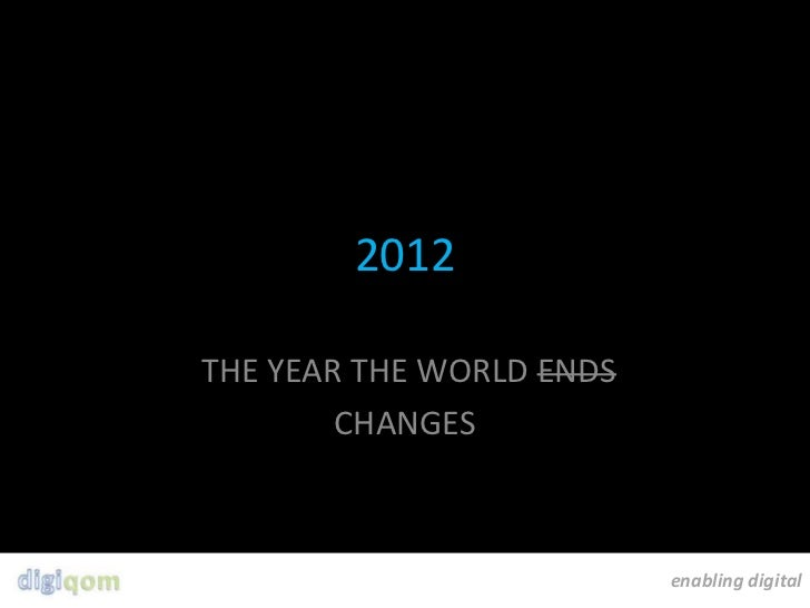 2012THE YEAR THE WORLD ENDS        CHANGES                          enabling digital