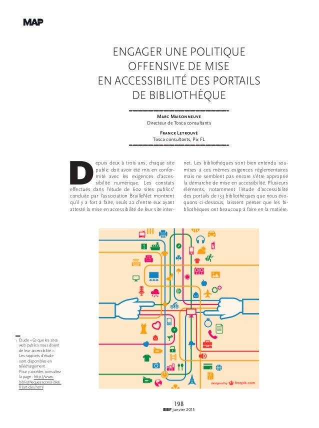 198 BBF janvier 2015 Engager une politique offensive de mise en accessibilité des portails de bibliothèque Marc Maisonneuv...