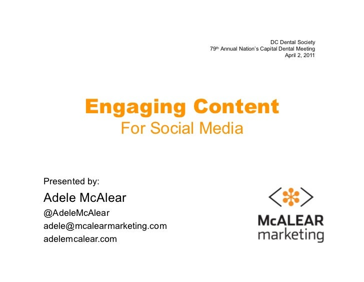 Engaging Content for Social Media - DC Dental Society Nation's Capital Dental Meeting