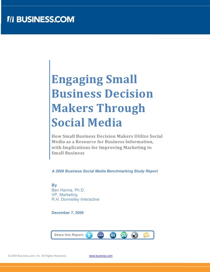 Engaging Small Business in  Social Media