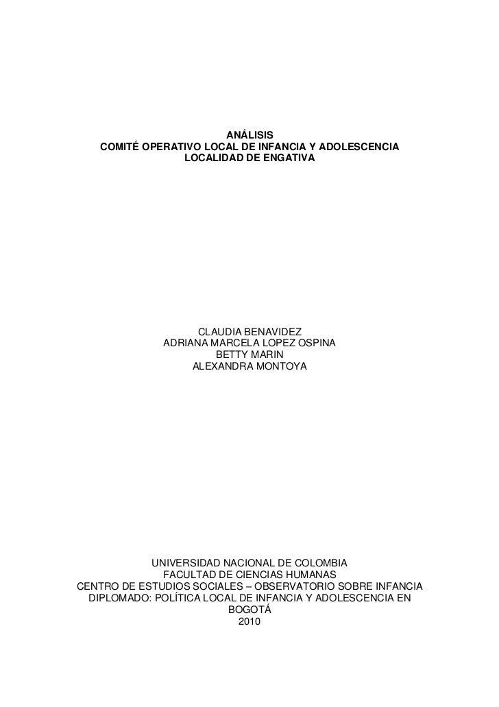 ANÁLISIS   COMITÉ OPERATIVO LOCAL DE INFANCIA Y ADOLESCENCIA                LOCALIDAD DE ENGATIVA                    CLAUD...