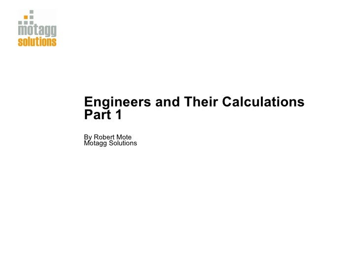 Engineers and Their Calculations Part 1 By Robert Mote Motagg Solutions
