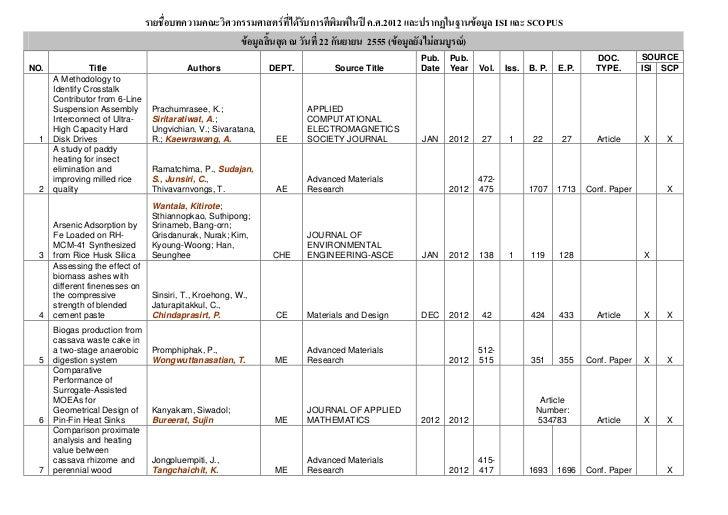 ก                ก              . .2012 $% ก&  ( )% ISI $% SCOPUS                                                         ...