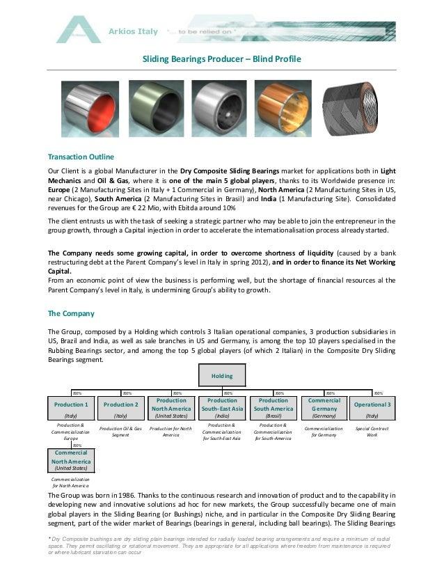 Arkios Italy                                             Sliding Bearings Producer – Blind ProfileTransaction OutlineOur C...
